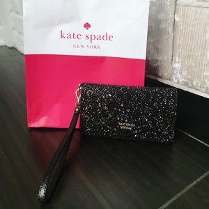 Kate Spade Laurel Way Black Glitter Wristlet
